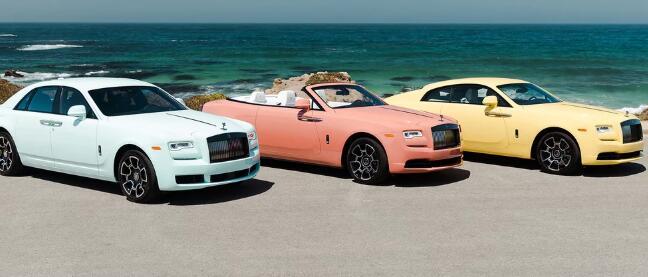 三辆柔和色彩的劳斯莱斯汽车的灵感来自蒙特利半岛的野花